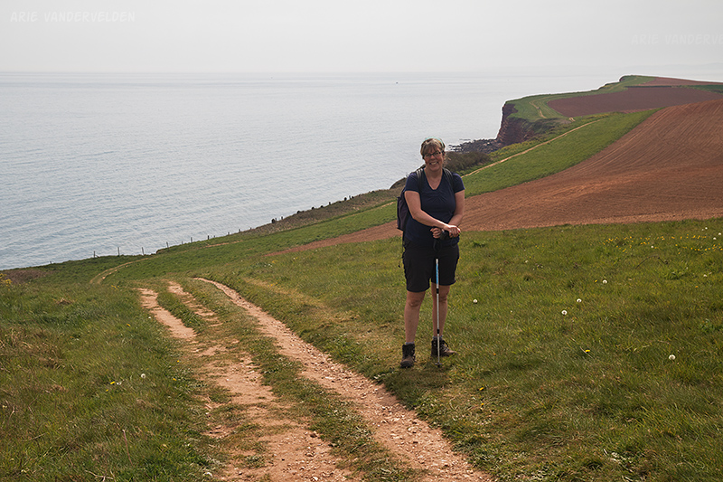 The coastal trails often skirt around the edges of farmland. Jurassic Coast.