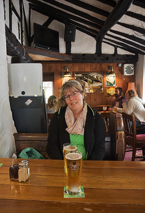 Enjoying a Korev in the pub. Croyde.
