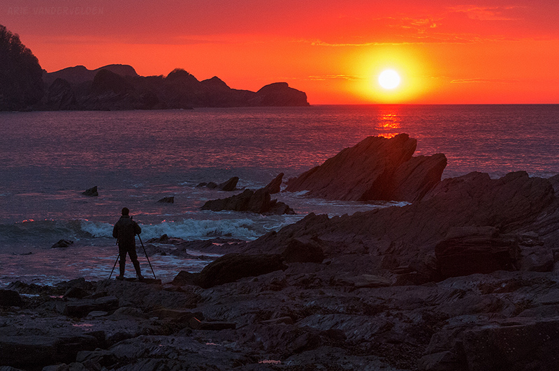 Getting the shot: Sunset at Combe Martin.