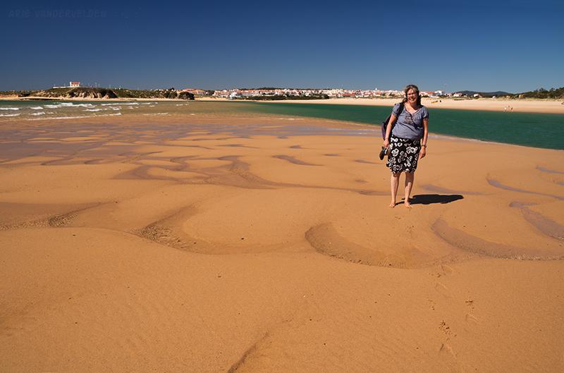 Diana on a sandbar.