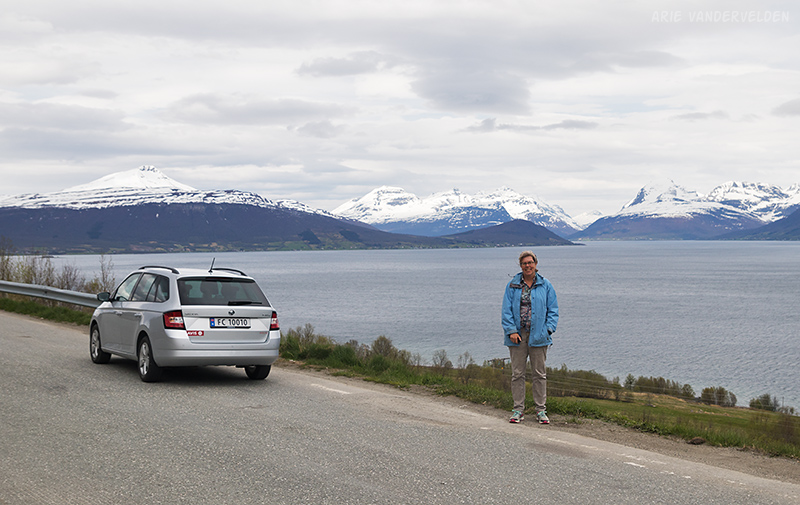 Roadside pullout overlooking a fjord.