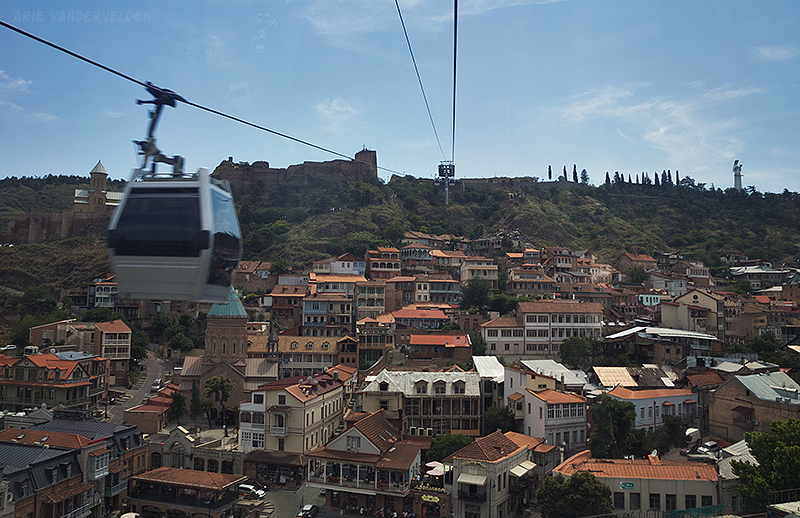 The gondola goes across Old Tbilisi to reach a ridgetop where there are castle ruins (left) and the statue of Mother Georgia (top right).