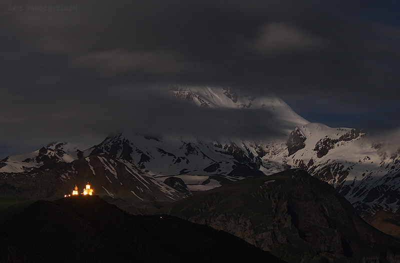 Mount Kazbek at night.