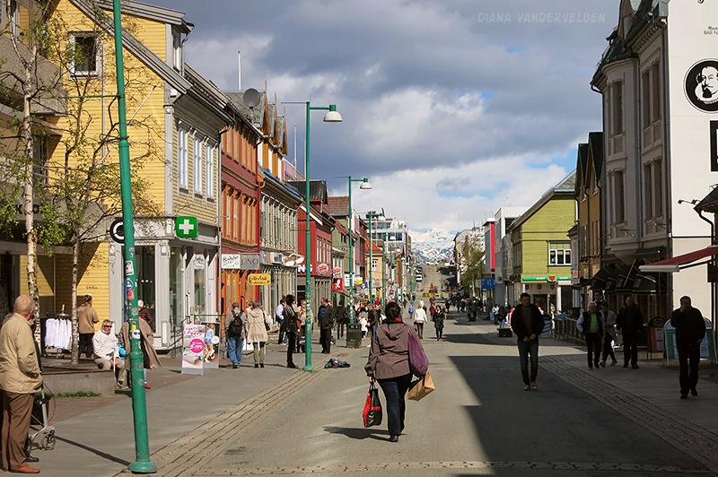 Tromsø's main pedestrian street.