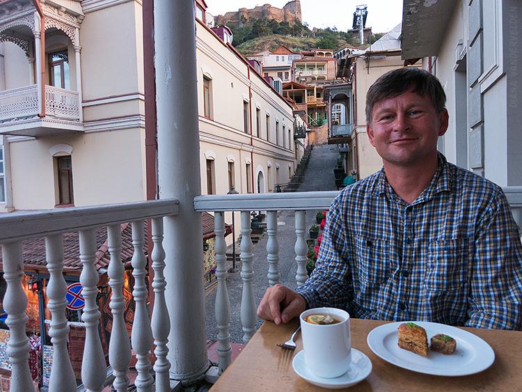 Tea and baklava, Tbilisi.