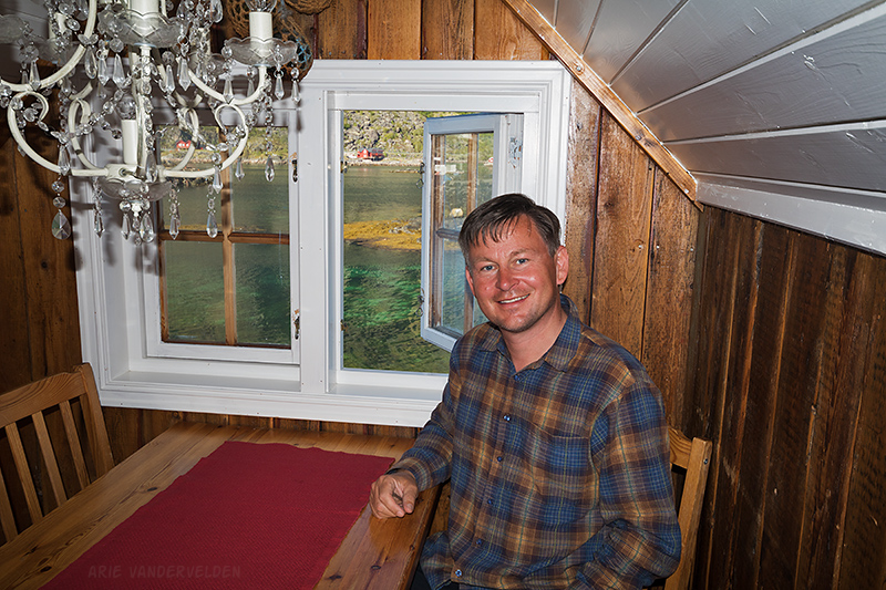 Inside the cabin. We had nice views of the fjord.