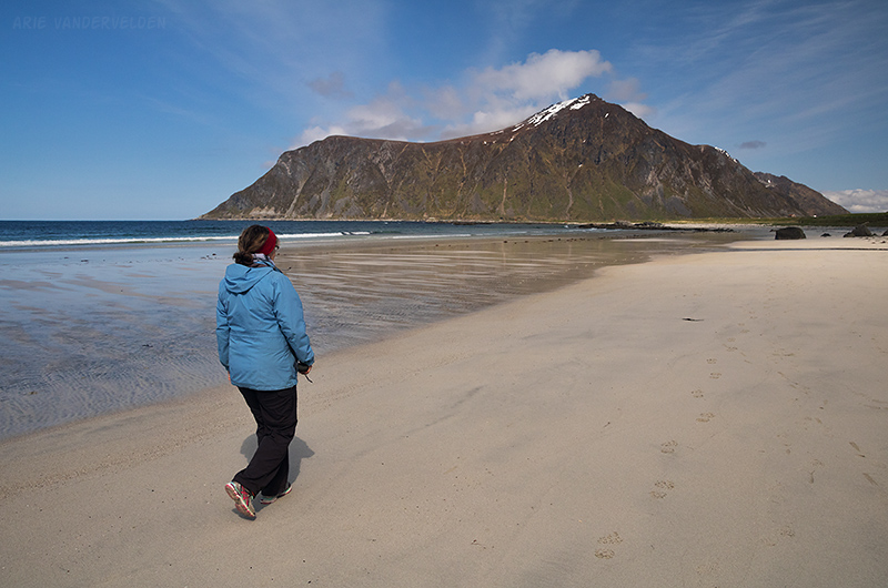 Walking down Flakstad Beach.