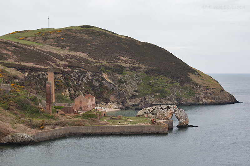 Porth Wen brickworks. Note the sea-arch at the quay.