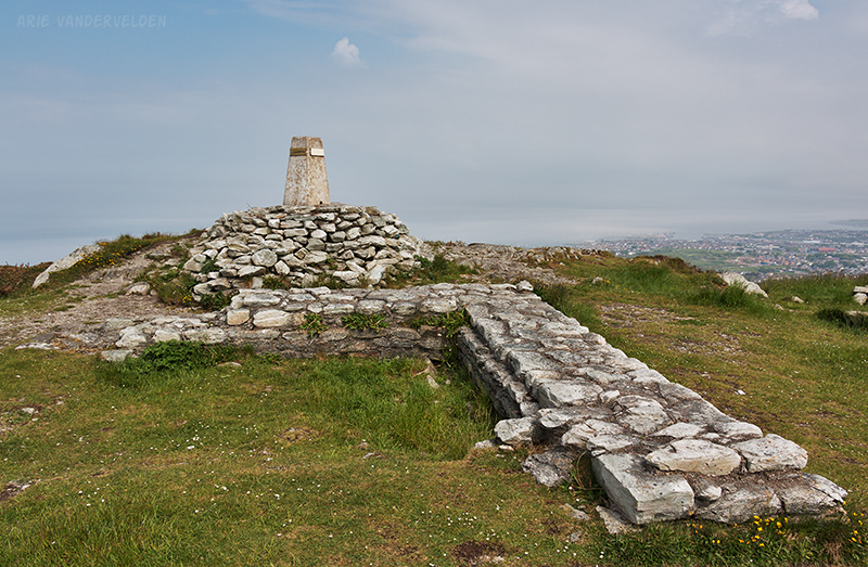 Summit, Holyhead Mountain. The town of Holyhead can be seen in the distance.