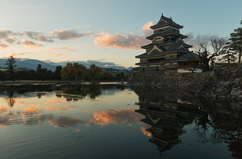 Matsumoto castle at sunset.