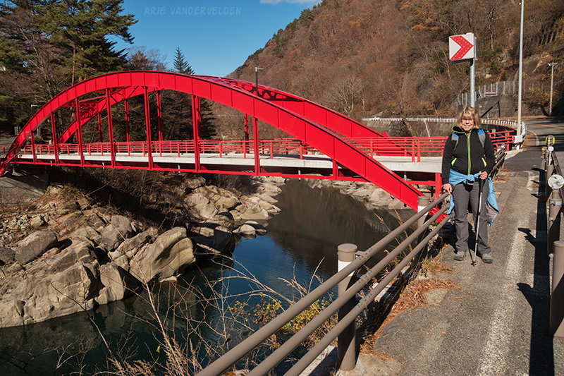Red bridge across the Kiso river.