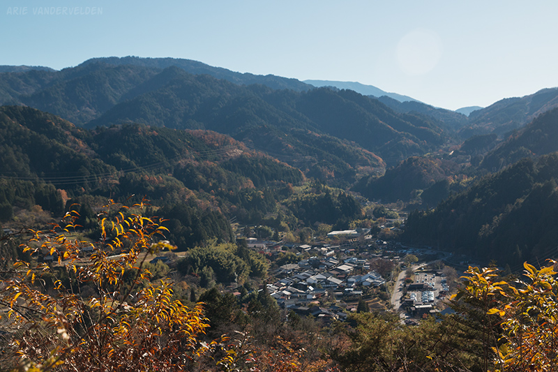 Looking towards Tsumago, and the Tsumago-Magome pass (low point on the horizon).