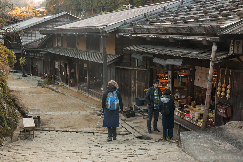 Diana looks at a shop in Tsumago.