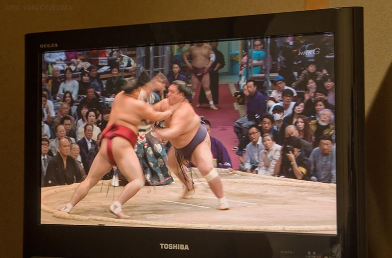 Sumo wrestling on the tv.