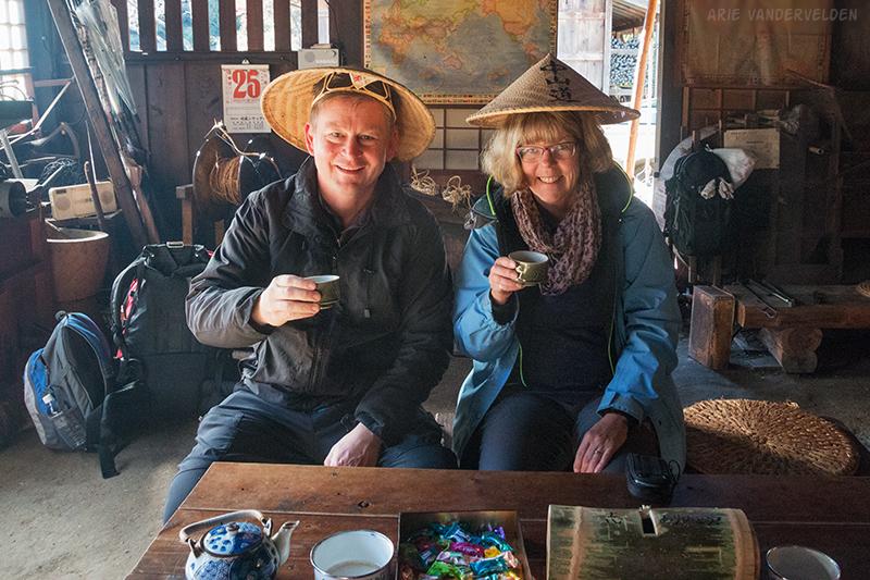 Drinking tea at the tea house.
