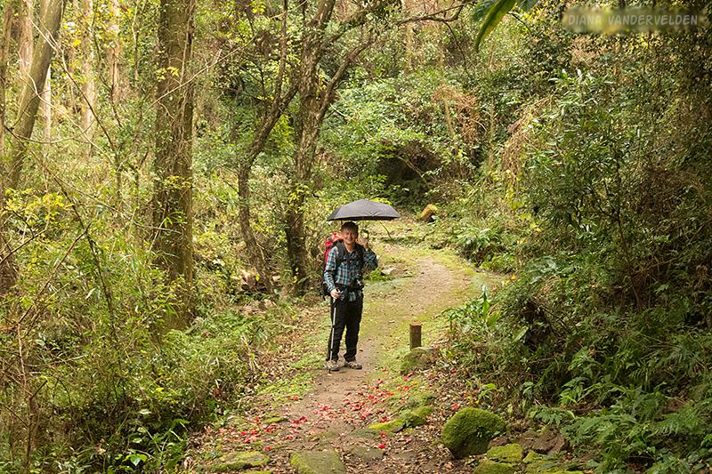 Arie hiking across the headland.