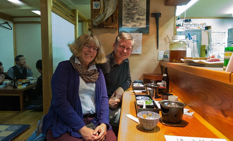 Enjoying ourselves at a restaurant in Kii-Kaatsura.