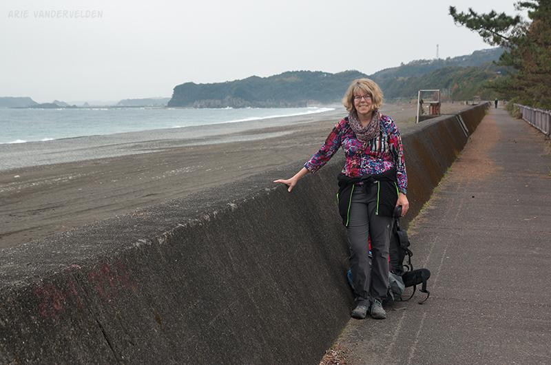 Diana at the Shingu seawall.
