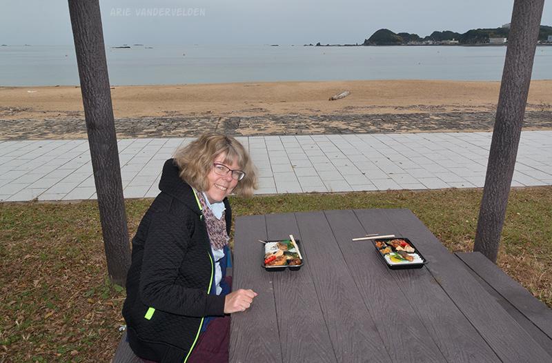 Bento-box lunch at Nachi Beach.