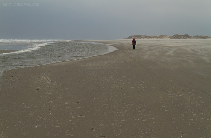 Hiking towards Terschelling's northeastern point in early March.
