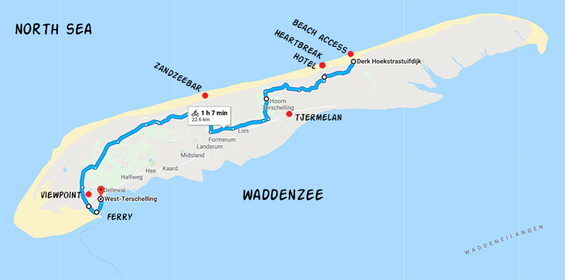 Suggested bike route on Terschelling, as described in this blog post.