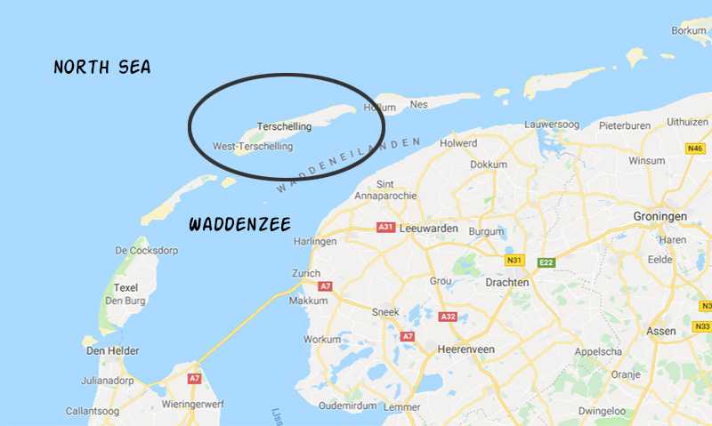 Northern part of the Netherlands and the Frisian islands.